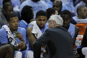 Roy Williams addresses his team (Todd Melet)
