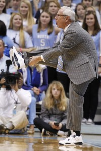 Roy Williams gets limbered up courtside (Todd Melet)