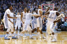 The Tar Heels were ecstatic about the win (Todd Melet)