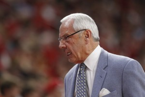 Roy Williams possibly expressing his feelings about NC State to his bench. (Todd Melet)