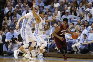 Marcus Paige and Justin Jackson on defense (Todd Melet)