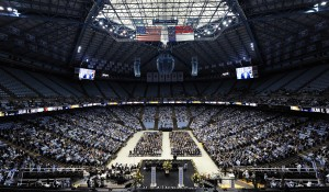 Thousands gathered to say goodbye to Coach Smith Sunday (UNC Athletics)