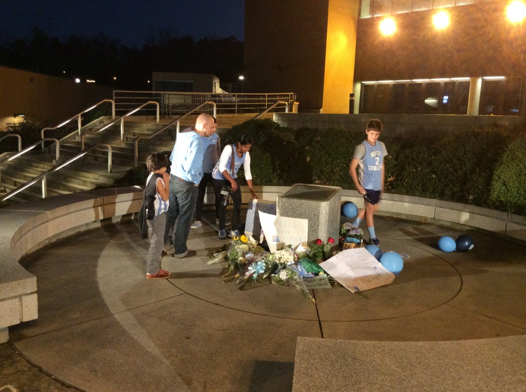 Remembering Dean Smith - makeshift memorial 1