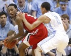 Marcus Paige defends NC State's Cat Barber Tuesday night (Todd Melet)