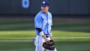 Skye Bolt showed extreme patience at the plate with two nine-pitch walks in Game 1. (UNC Athletics)