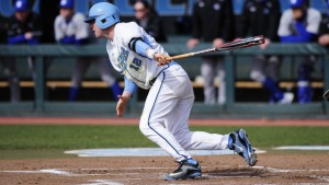 Landon Lassiter had an RBI and a fantastic diving catch in Game One. (UNC Athletics)