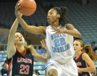 N'Dea Bryant to the basket. Courtesy of The Herald Sun
