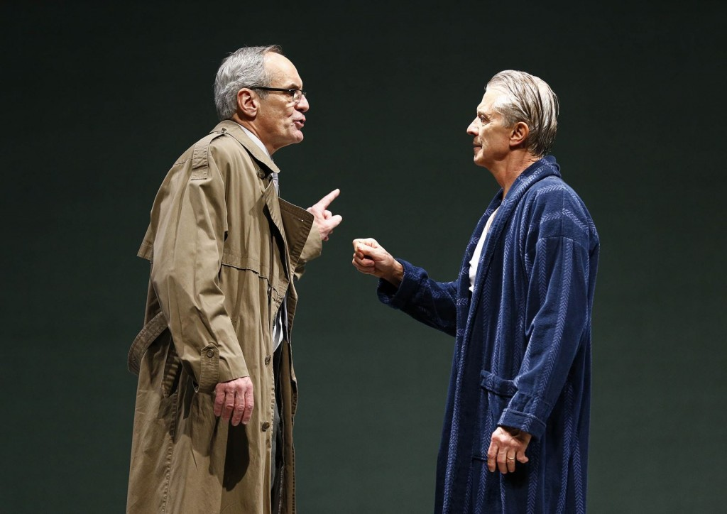 """Anthony Newfield as Peter Stockmann and Michael Bryan French as Thomas Stockmann in """"Enemy of the People."""" (Photo by Jon Gardiner via PlayMakersRep.org.)"""