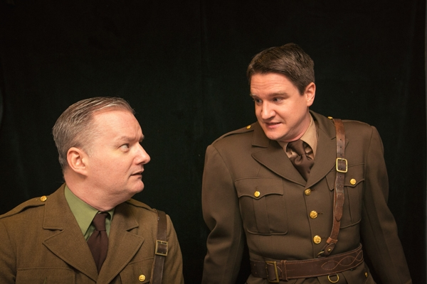 "Eric Carl as Osborne and Gus Allen as Stanhope in ""Journey's End."" Photo via DeepDishTheater.org."