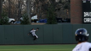 Ty Middlebrooks' leaping grab prevented a Tar Heel comeback for the ages. (UNC Athletics)