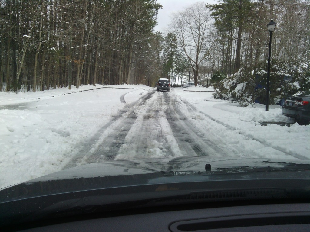 At Timber Hollow Apartments in Chapel Hill, the roads were still covered in snow, slush and ice on Friday morning, more than 24 hours after the snow stopped. (Photo by Aaron Keck.)