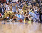 Irish and Tar Heels scramble for a loose ball (Todd Melet)