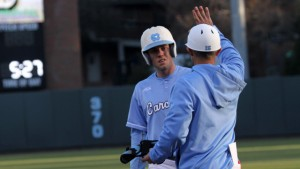 Landon Lassiter shares a word with hitting coach Scott Jackson. (UNC Athletics)
