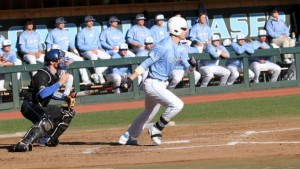 Skye Bolt homered to drive in three runs, but it would not be enough. (UNC Athletics)