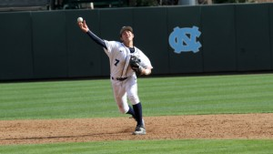 Stout defense from Logan Warmoth at shortstop helped Hunter Williams out greatly. (UNC Athletics)