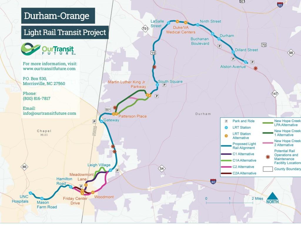 Durham Orange Light Rail Transit Project Map