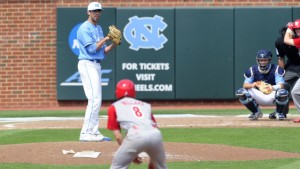 Benton Moss pitched well for two innings, but lost his control in the third. (UNC Athletics)