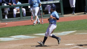 Joe Dudek scored on Korey Dunbar's groundout in the fourth. (UNC Athletics)