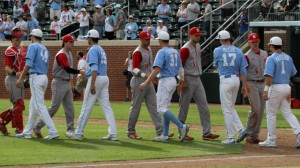 The teams exchanging a post-game handshake after a hard-fought series. (UNC Athletics)