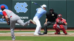 Joe Dudek waits for his pitch against NC State. (UNC Athletics)
