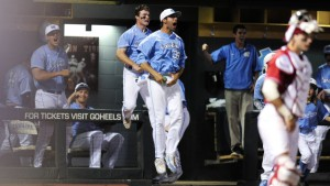 The UNC dugout was on their feet throughout the final innings. (UNC Athletics)
