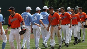 The teams shake hands after the game. (UNC Athletics)