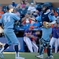 The Diamond Heels picked up an important win on Friday, as Trevor Kelley (44) picked up the save. (Sara D. Davis, TheACC.com)