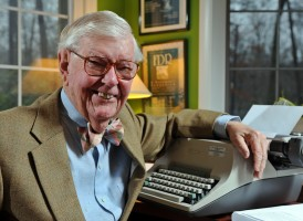 William (Bill) Leuchtenburg in the study of his home in Chapel Hill.