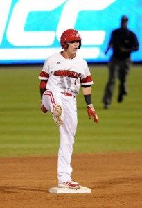 Louisville second baseman Sutton Whiting reacts after his RBI double in the fifth. (Liz Condo, TheACC.com)