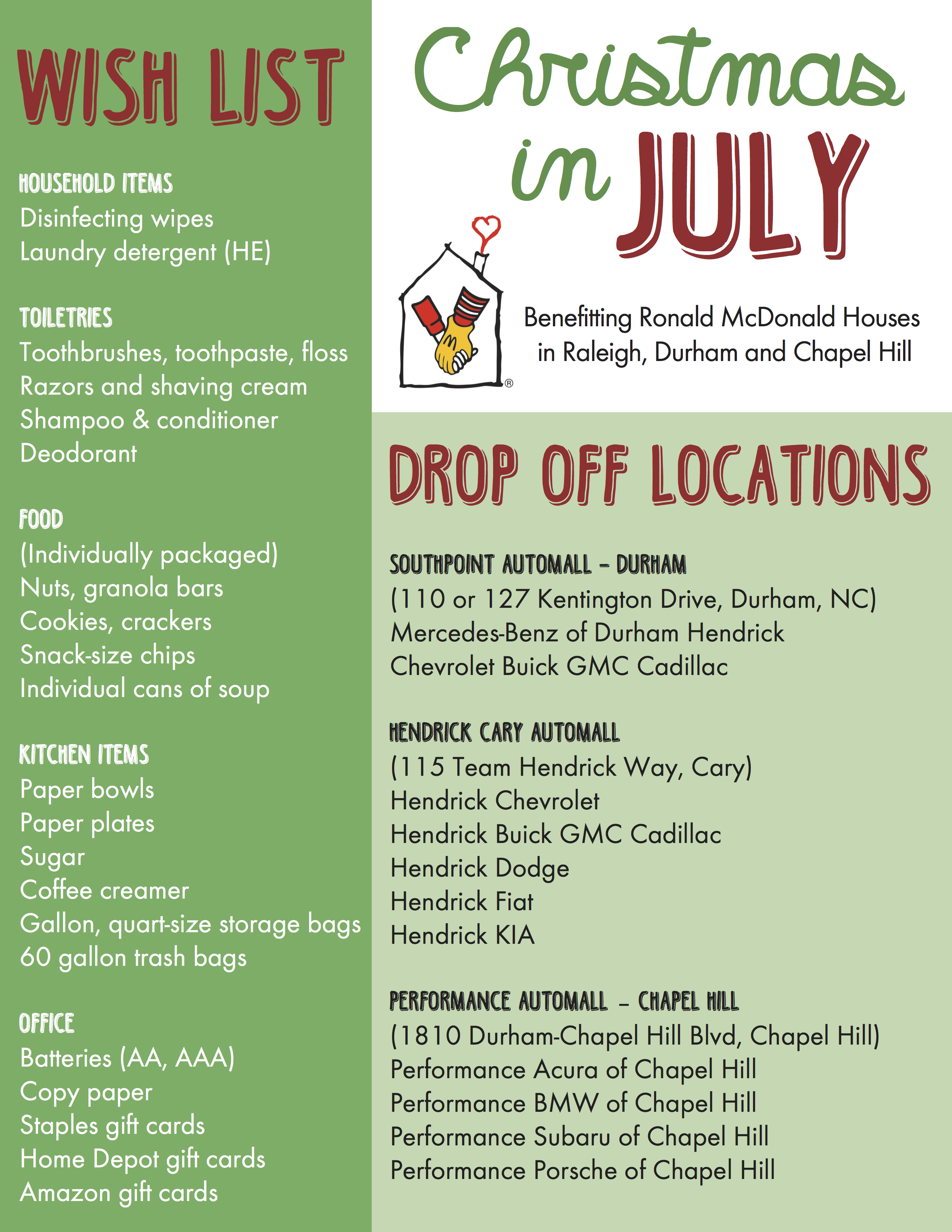 christmas in july drive to benefit families staying at the ronald