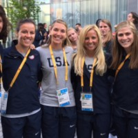 UNC Field Hockey players at the Pan Am Games. Photo via UNC Athletic Communications.