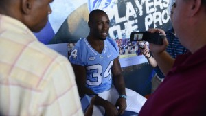 Sophomore running back Elijah Hood ran for close to 200 yards in Sunday's team scrimmage, and will be counted on to have a big year. (UNC Athletics)