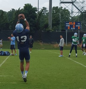 Mack Hollins hauls in a pass during Monday's practice. (Avery Trendel)