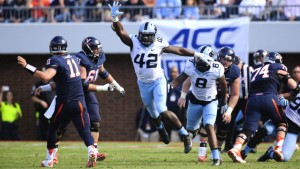 "The man they call ""Shakkie Robinson"" is transitioning well to his new role as a full-time outside linebacker. (UNC Athletics)"