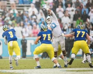 Tar Heel defenders made passing difficult for Delaware throughout the game. Photo via Smith Cameron Photography.