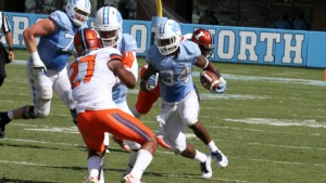 Elijah Hood (34) said he's looking to do the same thing to Delaware that he's done to all other opponents in 2015--destroy them. (UNC Athletics)