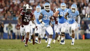 Elijah Hood (34) provided the lone bright spot for UNC's offense on Thursday, putting up 138 yards on 12 carries. (UNC Athletics)