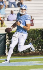 Mitch Trubisky finishing up his 35-yard touchdown run in the third quarter. (Smith Cameron Productions)