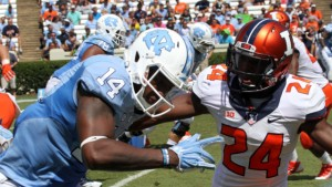 Senior receiver Quinshad Davis (14) will have a good shot to extend his all-time school record for touchdown catches against Delaware this weekend. (UNC Athletics)