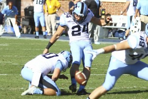 The mental aspect of kicking is what has previously held Weiler back. (Photo: Daily Tar Heel)