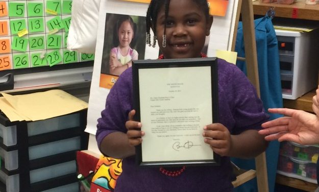 Estes Hills Student Receives Letter from President Obama