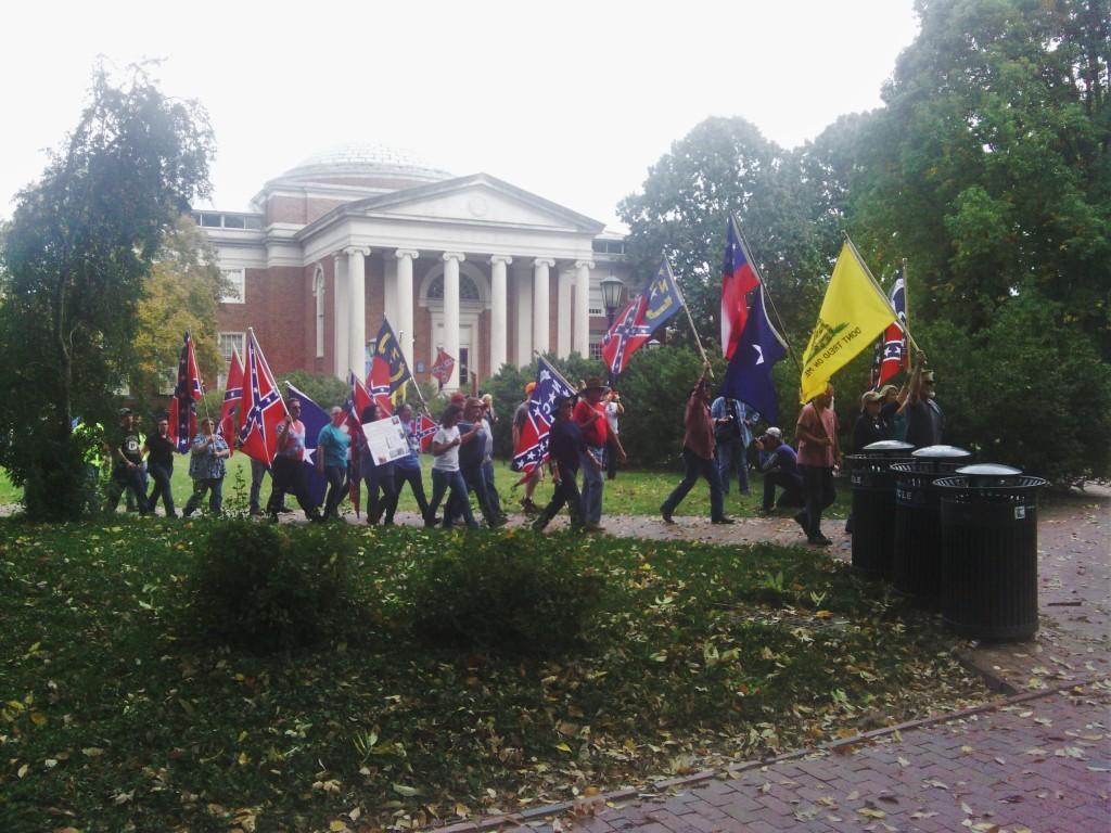 Pro-Confederate demonstrators arrive...