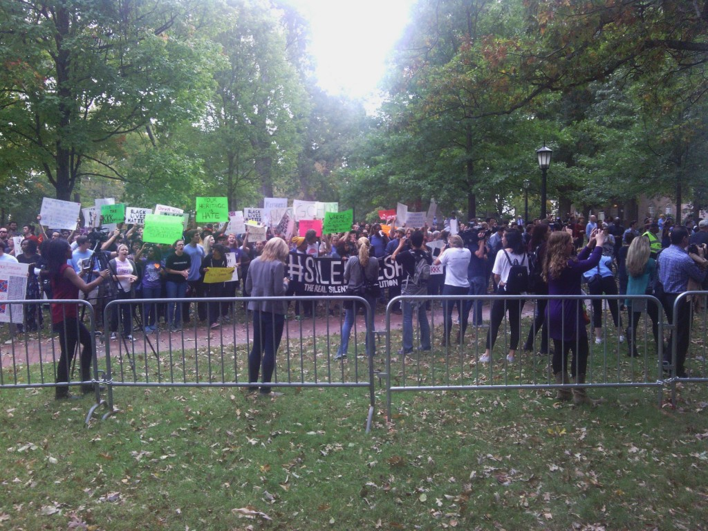 Counter-protestors gather ahead of Sunday's rally. (Photo by Aaron Keck.)