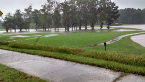 Flooded golf course at Chapel Hill Country Club