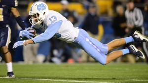 Mack Hollins dives across the goal line for a touchdown in the second quarter that brought the lead to 20-3 in UNC's favor. (UNC Athletics)