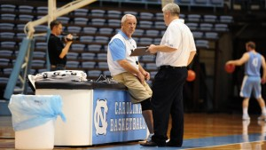 Roy Williams watches over practice on Monday. (UNC Athletics)