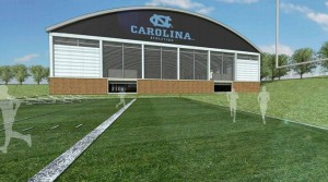 Rendering of the Proposed Indoor Practice Facility. Photo via UNC.
