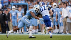 MJ Stewart tackles Duke's Max McCaffrey. (UNC Athletics)