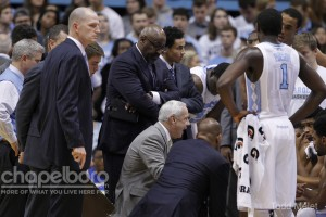 Roy Williams gives his team a much-needed pep talk. (Todd Melet)