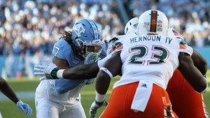 Dajaun Drennon and the UNC defense held strong against the Miami starters, shutting them out in the first half. (UNC Athletics)